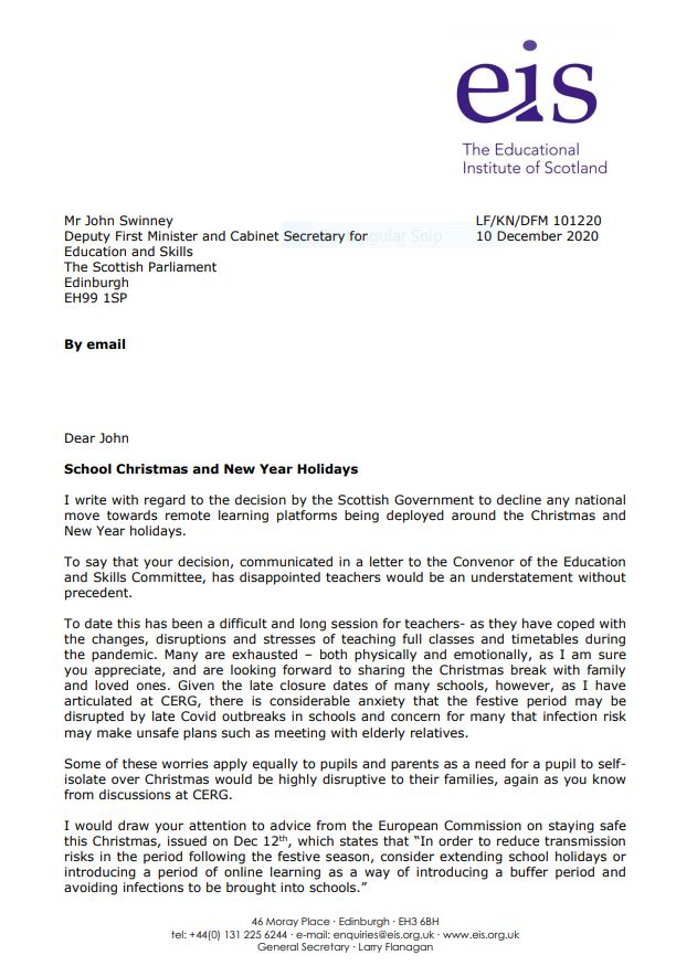 Letter to Deputy First Minister